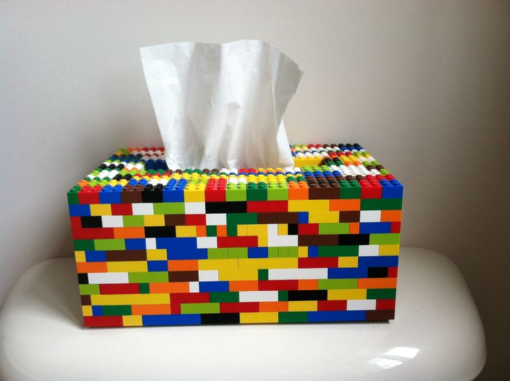 Tissue box cover made from actual lego pieces.  I may have to have my nephew make this...