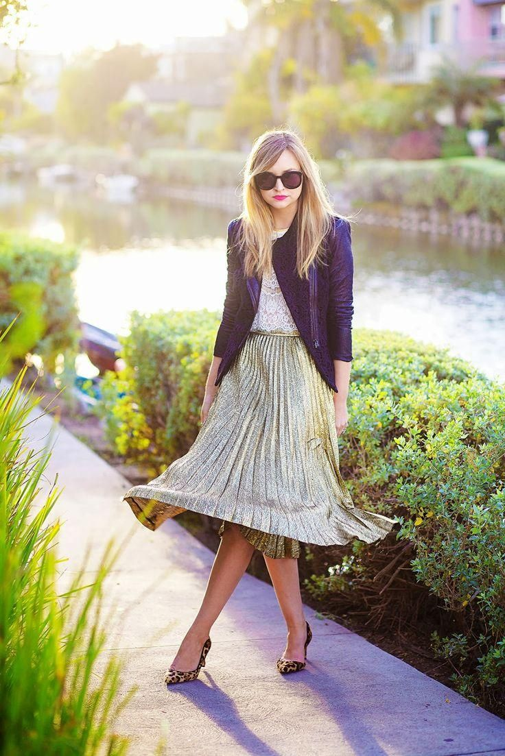 How to Wear Metallics During the Day - silver pleated midi skirt  | StyleCaster: