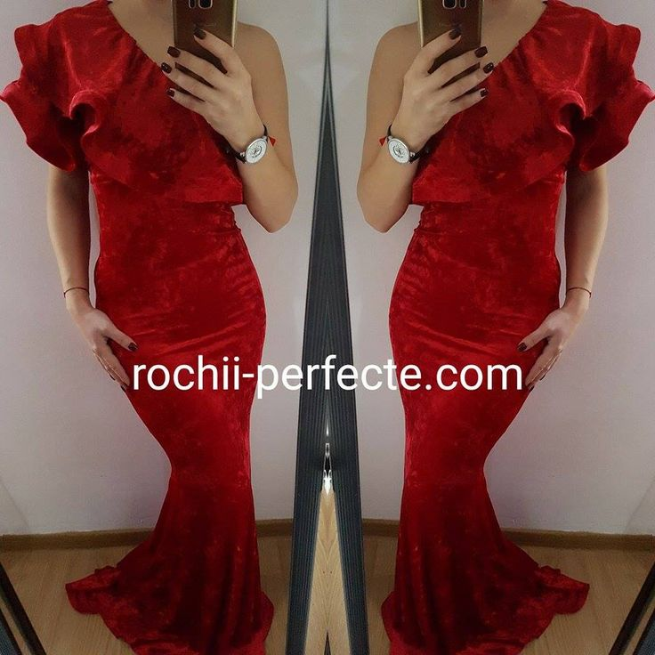 rochie lunga rosie de catifea