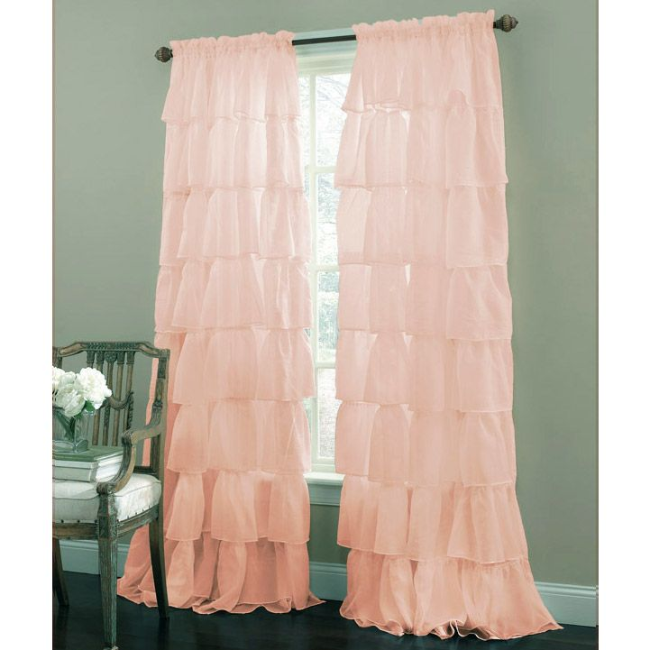 "Pink 63"" Long Gypsy Shabby Chic Semi Sheer Ruffled Window Curtain Panel"