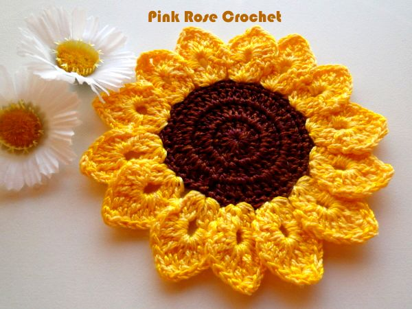 PINK ROSE CROCHET : Girassol Pega Panelas Sunflower Pot Holders