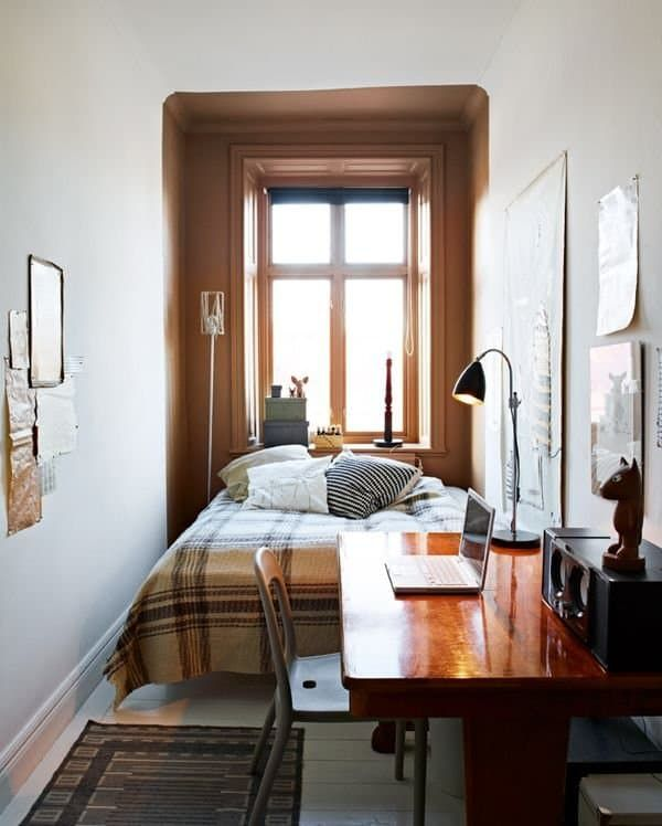 If you're dealing with a common small-space problem, a bedroom scarcely large enough for a bed,look no further than this list of space-saving solutions.