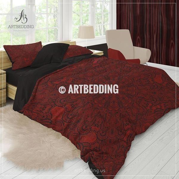 Red Boho Bedding Ruby Red And Black Gothic Mandala Duvet Cover Set Mandala Quilt Cover Set Boho Bedspread Duvet Cover Sets Red Bedding Sets Boho Bedding