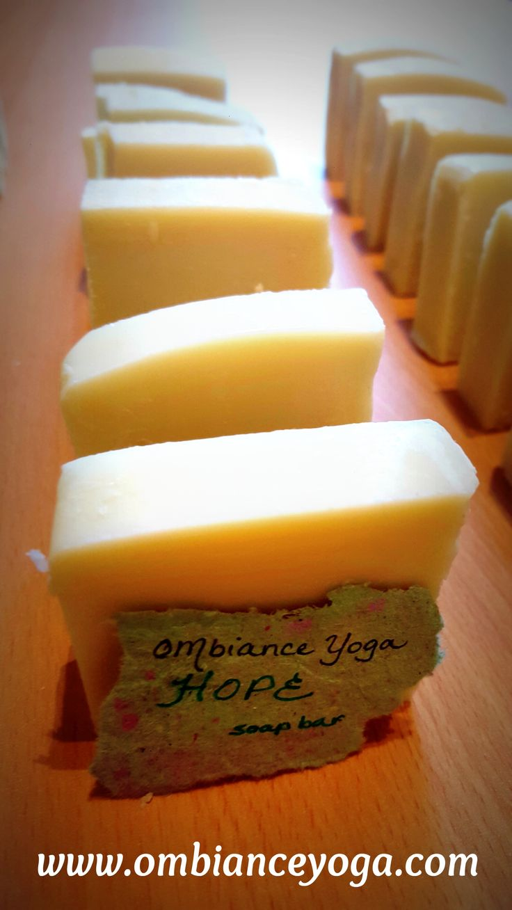 OMbiance Yoga handmade soap bars - available in Joy (peppermint), Hope (rosemary), Gratitude (lemongrass), and Peace (eucalyptus). www.ombianceyoga.com