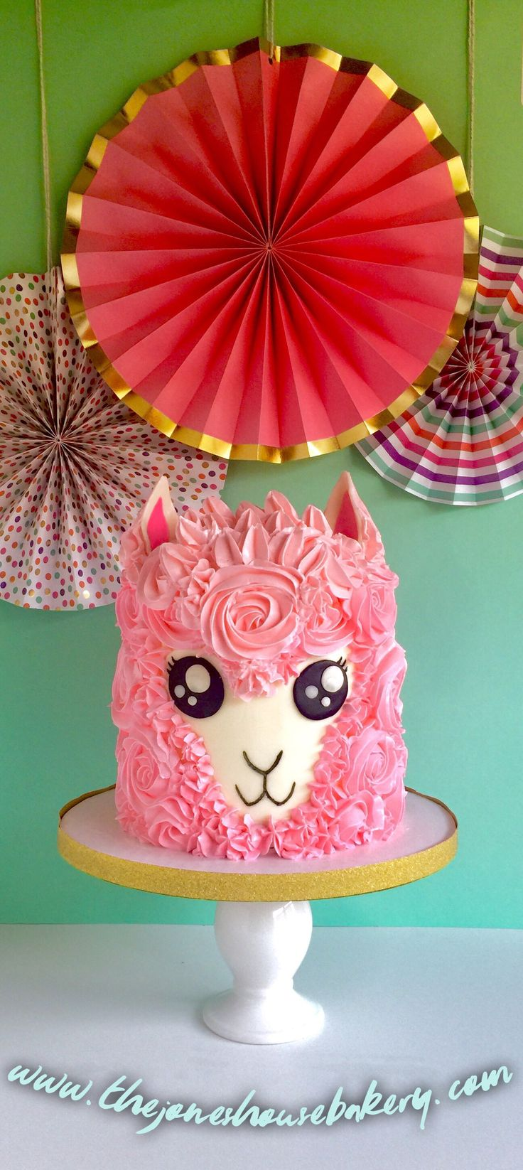 Alpaca Cake - I made this cake very similar to the unicorn cake design that are so popular now! Swiss Meringue Buttercream piped like a dream! Loved making the rosettes!