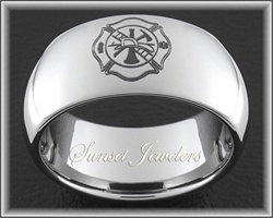 Tungsten Fireman Wedding Rings With Free Inside Engraving