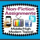 Non-Fiction Reading Response: Relevant Articles & Assignments  {Common Core}