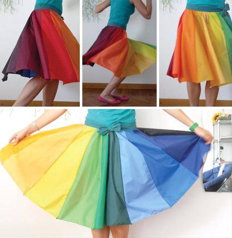 haha, nooo way, this is an umbrella! too cute.: Sewing, Broken Umbrellas, Color Wheels, Diy Clothing, Upcycled Umbrellas, Recycled Umbrellas, Umbrellas Skirts, Cecilia Felli, Rainbows Skirts