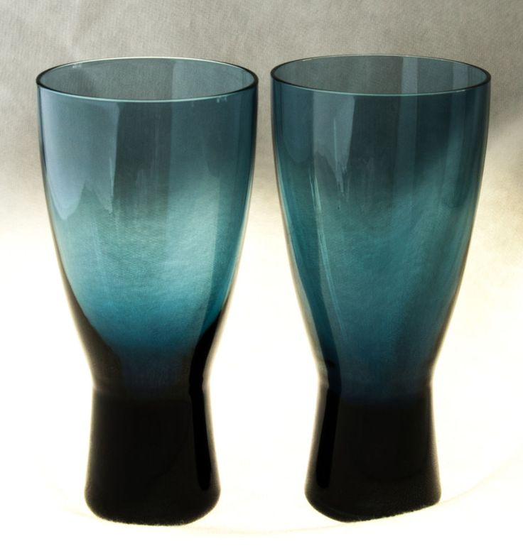 "Glasses Mid Century Scandinavian? Blue Grey Weighted Bottom 6 1/4""  #MidCenturyModern"