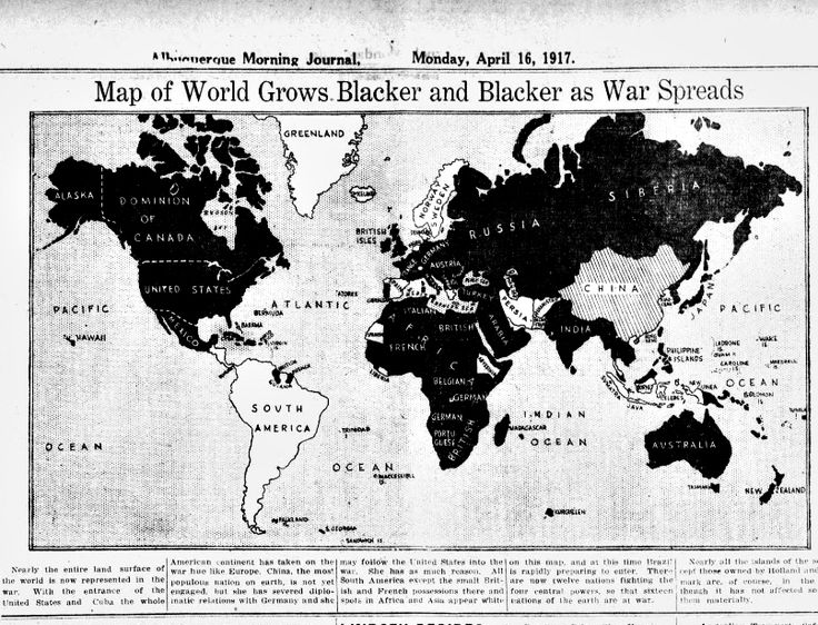 "WWI, 16 April 1917;""Map of World grows blacker and blacker as war spreads"" - Albuquerque Journal"