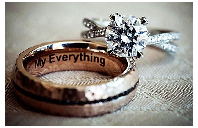 """""""My Everything"""" wedding band engraving, love love love the engagement ring"""