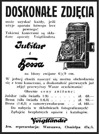 Retro REKLAMA - Aparaty Jubilar i Bessa firmy Voigtlander - 1934 rok