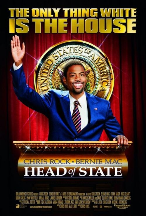 Head of State (2003) is comedy film directed, written by, and starring Chris Rock and also co-starring Bernie Mac. The film's title refers to that function of the President of the United States, the other two functions being head of government and commander in chief.  Part of it is filmed in South Dakota.