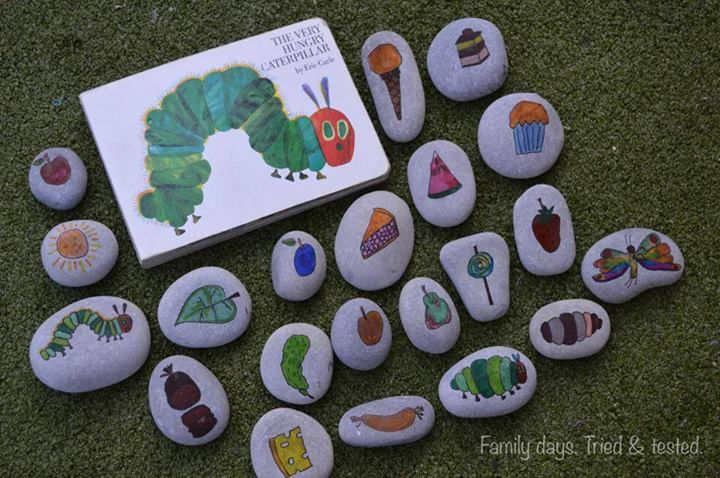 "Love these hungry caterpillar story stones from Family days. Tried & tested. ("",)"