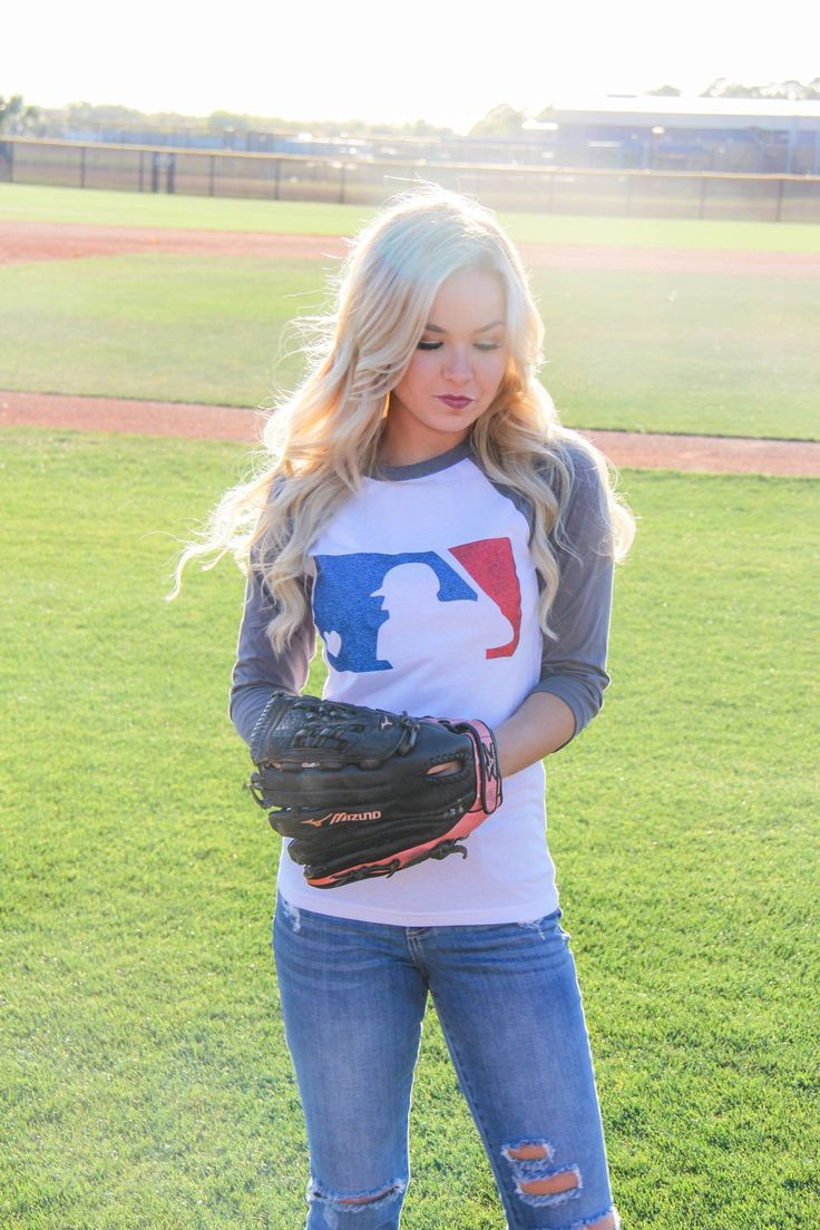 One of our favorites! Perfect for any baseball game! Top runs true to size! Model specs: Height: 5'5. Dress: size 4. Bust: 32DD. Top: small. JeansL size 3/5, 27.