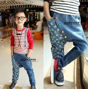 FREE SHIPPING! New style fashion hot-selling children's boy casual denim pants harem jeans colorful buttons cool txn063 $17.40