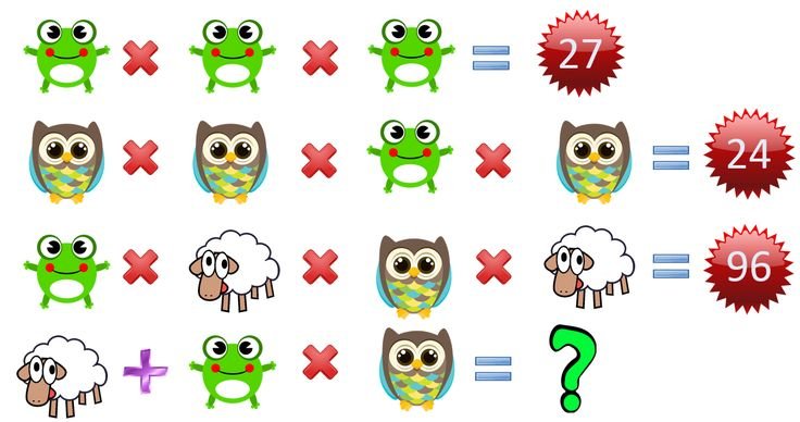 Sheep   Frog × Owl =?? Fun Math Puzzles Only for genius with solution