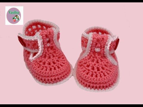 TUTO CHAUSSONS BOTTES BEBE TRICOT FACILE bootie knitting baby boots - YouTube