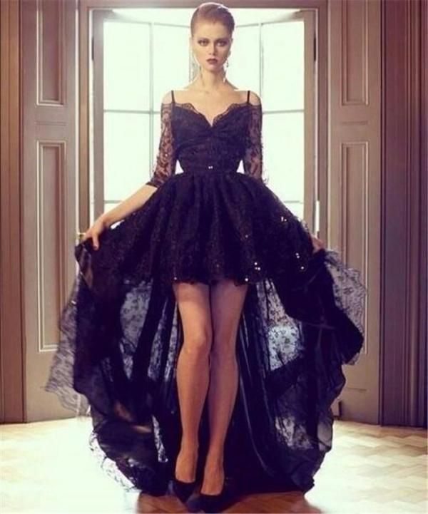 Discount 2015 Sheer Hi Lo Black Evening Dresses Lace Half Sleeves Applique Sequin Off Shoulder Zipper Ball Gown Vintage Formal Prom Gowns Custom Made Online with $127.75/Piece | DHgate