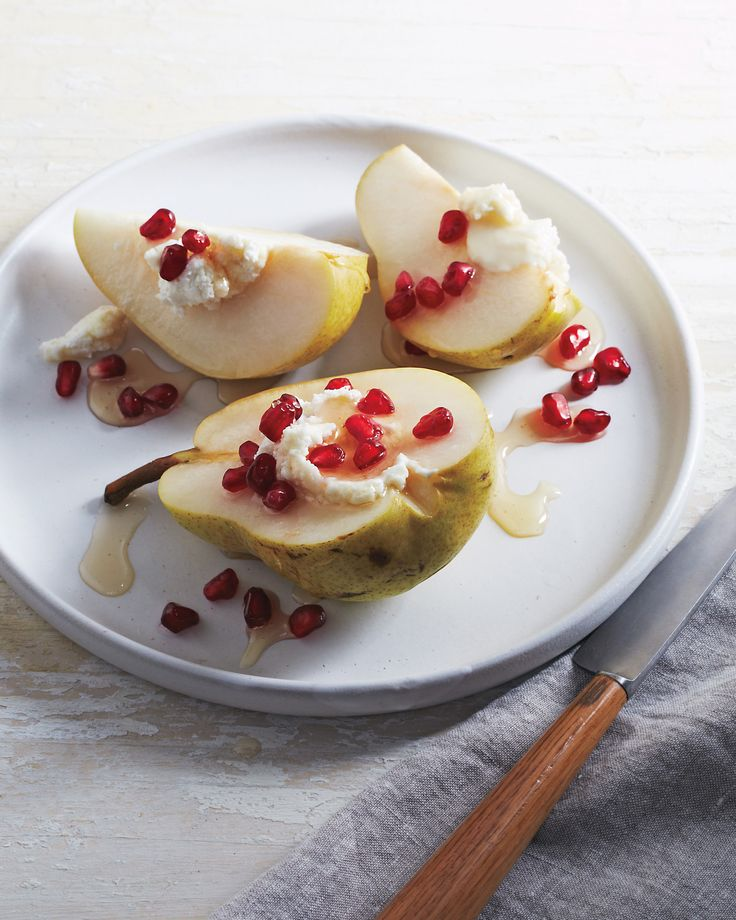 Upend your snack routine with this sophisticated little number. Ripe pears are filled with fresh goat cheese, drizzled with honey, and sprinkled with pomegranate seeds.