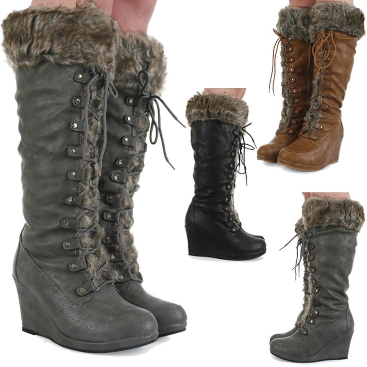 zip up winter boots for women | ... HIGH ZIP UP FAUX FUR TRIM WEDGE WOMENS WINTER BOOTS SIZE 3-8 | eBay