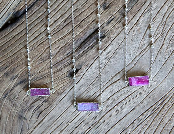 Crystal druzy and sterling silver bar necklace in dust pink and fuchsia by Rosehip Jewelry