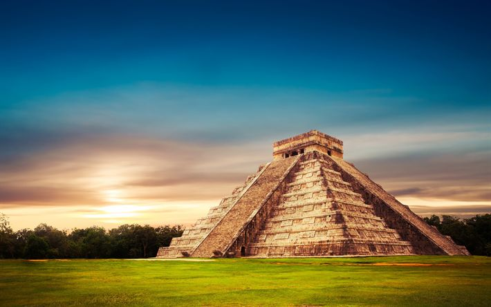 Download wallpapers Temple of Kukulcan, El Castillo, pyramid, temple, sunset, Mexico, attractions, landmark, Mesoamerican step-pyramid, Architecture of the Maya