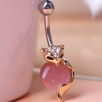 Wish | No dropping cute Fox Opal shape navel belly button ring piercing jewelry