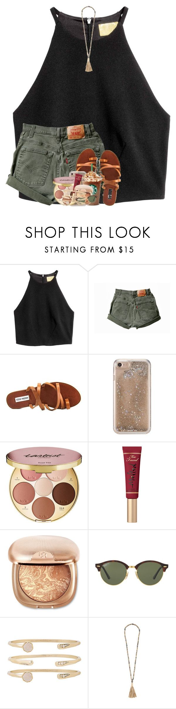"""""""you are beautiful regardless of what you think ;)"""" by emilyandella ❤ liked on Polyvore featuring Steve Madden, Agent 18, tarte, Too Faced Cosmetics, Ray-Ban, Kendra Scott and Hipchik"""