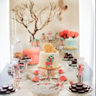 Love for teal and coral pink bridal shower or baby shower...