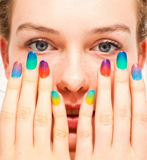 Google Image Result for http://la.racked.com/uploads/AANails_2012_06.jpgNails Art, American Apparel, Americanapparel, Colors Nails, Summer Nails, Nails Polish Collection, Ties Dyes, Gradient Nails, Rainbows Nails