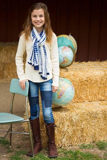 dark night indigo denim pants feature artfully placed patches for an organic, yet edgy tween fashion