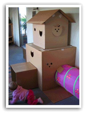 cardboard box house for cats - Google Search