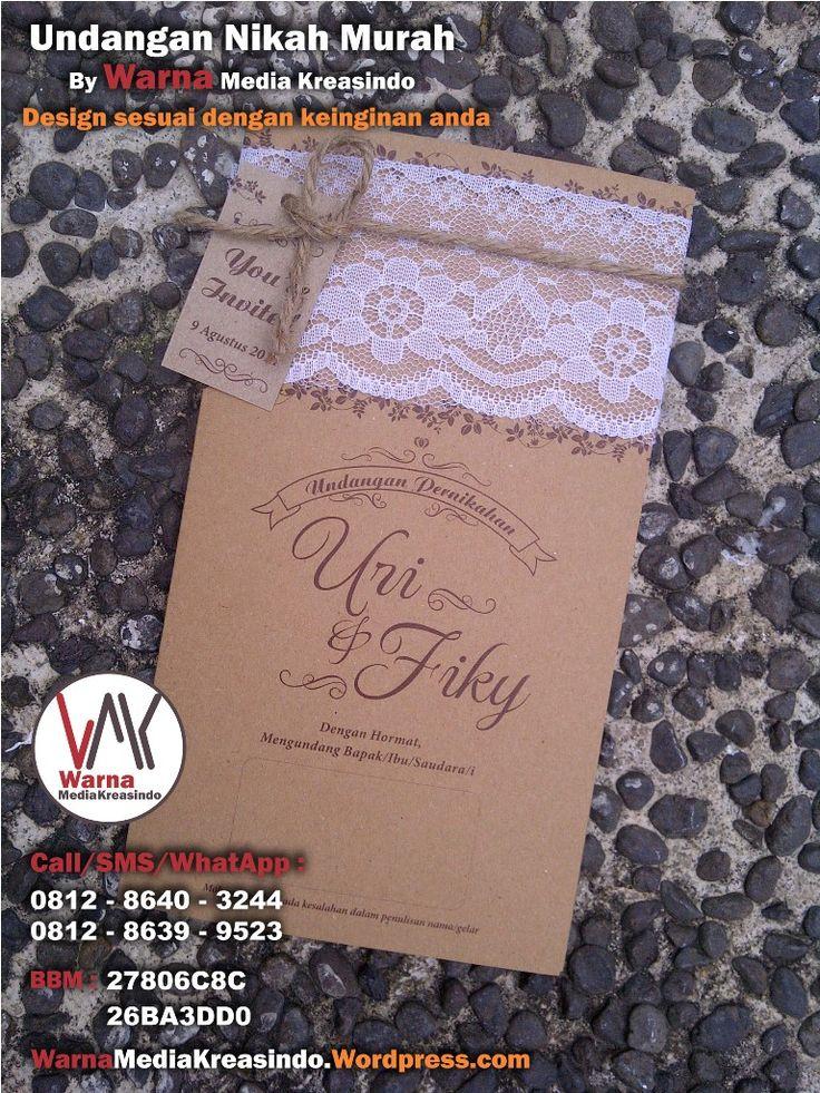 Undangan nikah unik dengan kertas kraft, renda dan tali rami - whatsapp: 081286403244 website: warnamediakreasindo.wordpress.com #undangan #pernikahan #wedding #invitation #kraft #rami #outdoor #simple