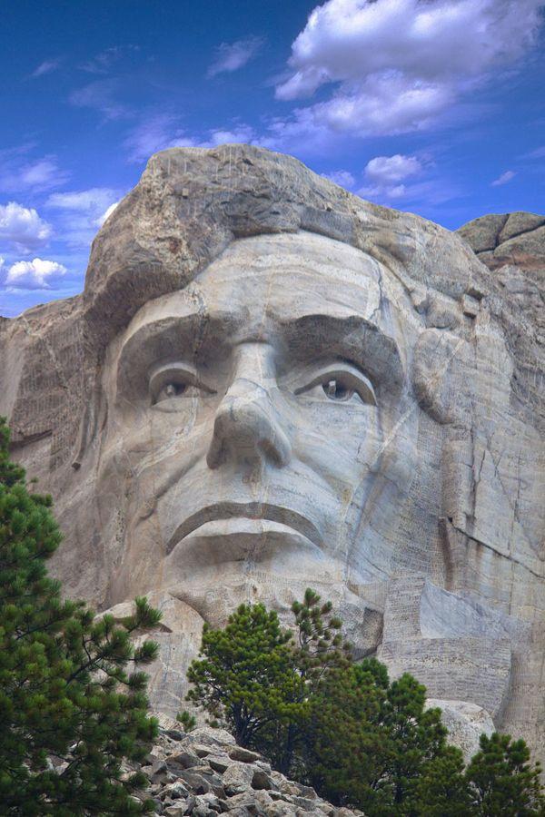 Cierre de Abraham Lincoln en Montaje Rushmore Monumento Nacional, Dacota del Sur, EE.UU.                                                                                                                                                                                 Más