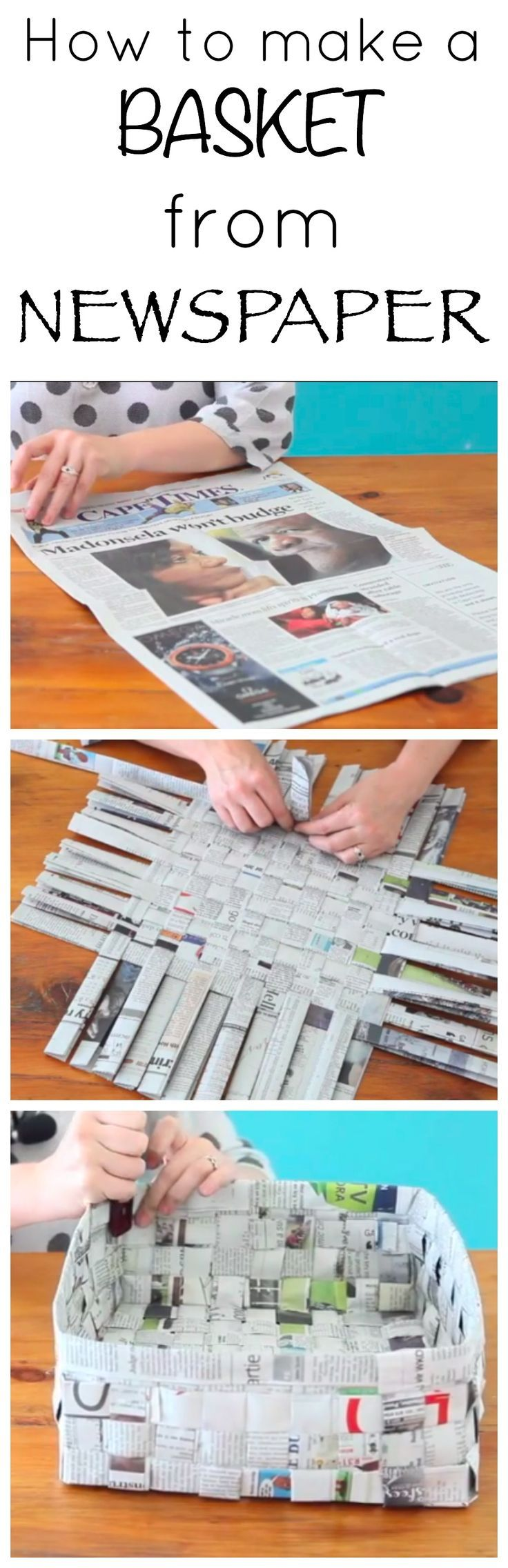 Fun kids project- make a basket from newspaper!