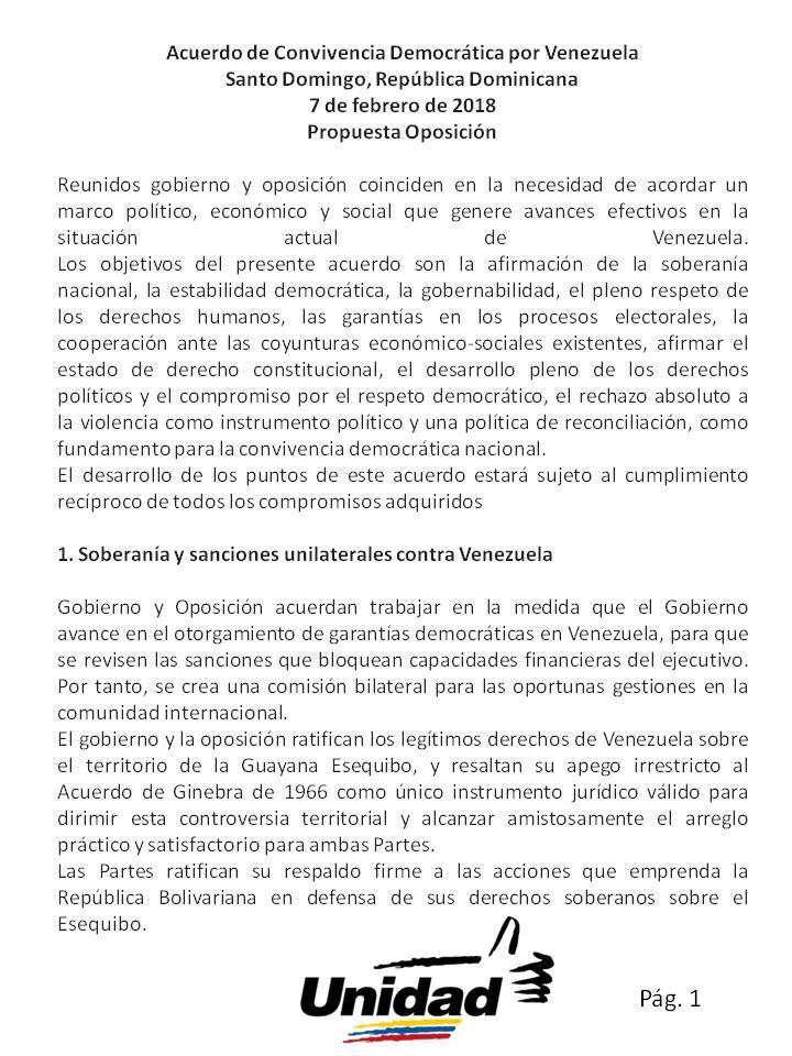 Acuerdo de Convivencia Democrática por Venezuela, propuesta de la MUD -  La Mesa de la Unidad Democrática presenta ante el país y la opinión pública el documento final del proceso de negociación con el gobierno en República Dominicana, en el cual están contenidas las exigencias que elaboró la MUD, contempladas en la Constitución de la República de Venezuela y de la m... - https://notiespartano.com/2018/02/08/acuerdo-convivencia-democratica-venezuela-propuesta-la-mu