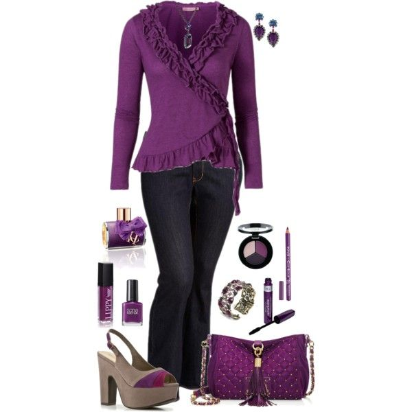 """""""Plus Size in Purple"""" by elise1114 on Polyvore Not sure I could pull off the shoes, lol"""