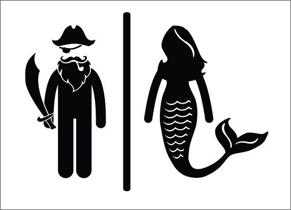 Pirate Mermaid Restroom Door Sign   Premium Vinyl Decal. Best 25  Toilet signs ideas on Pinterest   Funny toilet signs