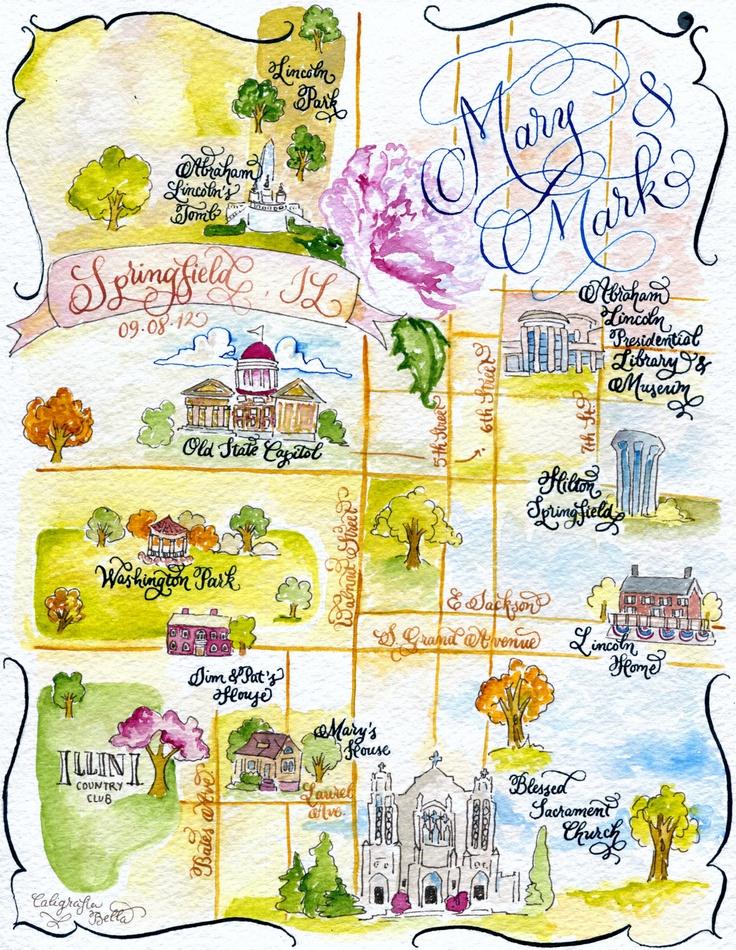 Custom Wedding Map- Calligraphy and Watercolor. $200.00, via Etsy.