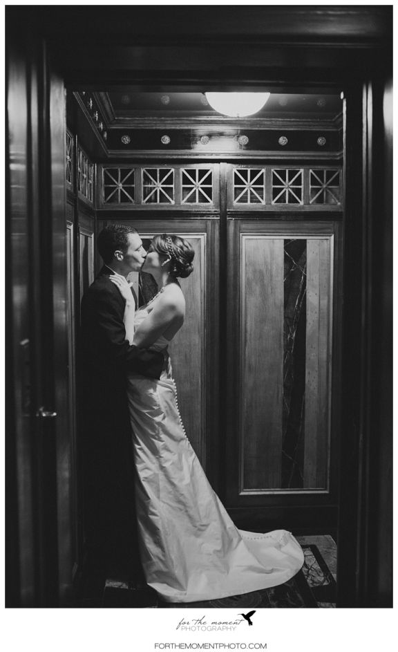 Romantic Bride & Groom Elevator Shot at The Thaxton Speakeasy St Louis Mo | Black,
