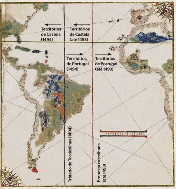 Treaty of Tordesillas 1494 - The divison of the new world between Portugal and Castille