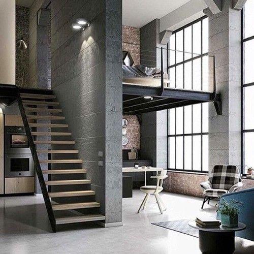 26 Spacious Loft Interiors Interiorforlife.com Grey Industrial