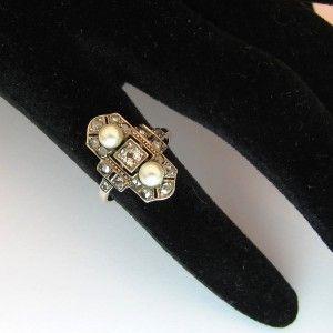 Bague marquise ancienne. Or rose. Argent et 2 perles fines sans oublier le diamant ! 2200€ TTC  #bague #vintage #perle #paris #ring