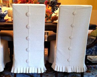 shabby chic chair slipcover with buttons