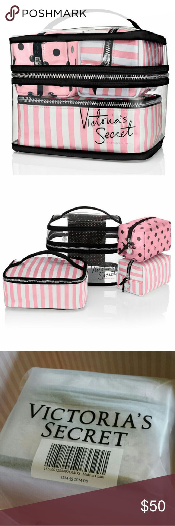 NIP Four piece Travel Case New in package, never opened 4 pc travel bag set in Iconic Stripe/Polka Dot. Hold everything style tote cases, four easy to clean zippered bags in Victoria's Secret signature prints, perfect for carrying your makeup/cosmetics, toiletries, accessories, etc. Made with imported pvc and satin. Victoria's Secret Bags Travel Bags