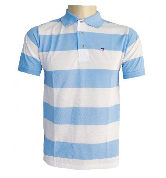 Camisa Polo Tommy Hilfiger Azul Celeste e Branca MOD:76532