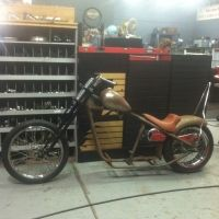 Chop Cult - FTWINC's classified listing - I have this roller. Frame is a kraftech rigid frame. It has 200 rear tire, 34 degrees rake, 4 inch stretch, and 1.5 backbone stretch. Comes with axed wasp gas tank, spoked wheels, springer front end, drag bars, rear fender and sissy bar, and oil tank....