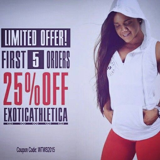 Limited time offer on all new WALK THE WILD SIDE gym tops. 25% off plus FREE SHIPPING @ www.exoticathletica.com - enter the Coupon Code to redeem.