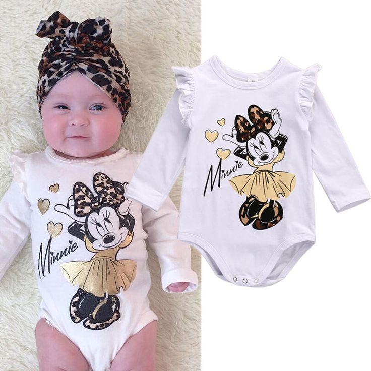 Lindo Recién Nacido Ropa de Bebé Niña de Algodón de Manga Larga Traje de Algodón de Dibujos Animados Outfit 0-18 M